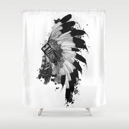 black and white headdress Shower Curtain