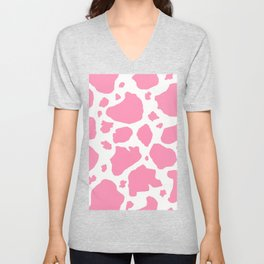 pink and white animal print cow spots Unisex V-Neck