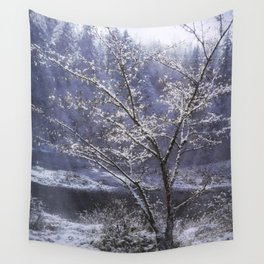Snow Flowers Whimsy Wall Tapestry