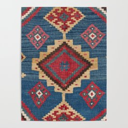 Vintage Woven Kilim II // 19th Century Colorful Royal Blue Yellow Authentic Classic Ornate Accent Pa Poster