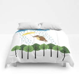 bear with umbrella Comforters