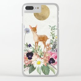 The Fawn and Her Flowers Clear iPhone Case