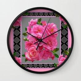 PINK ON PINK ROSE PATTERN GREY ART Wall Clock