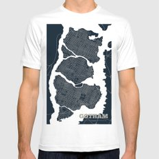 Gotham City Streets Map MEDIUM White Mens Fitted Tee