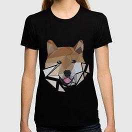Low polygon shiba inu face T-shirt