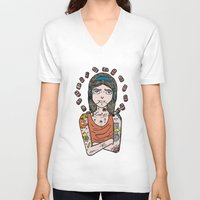 simpson V-neck T-shirts featuring Saint Simpson by A+A Noisome Art