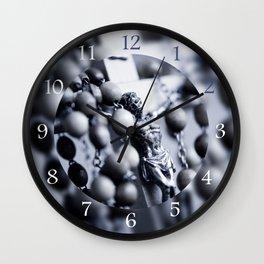 Blue toned Jesus rosary Wall Clock
