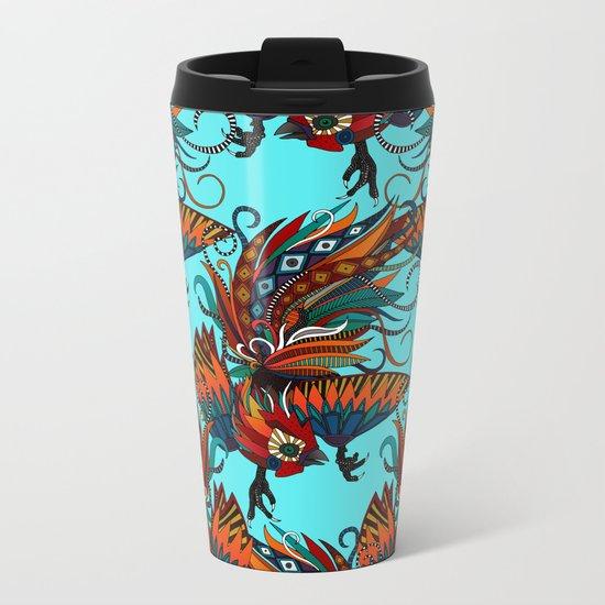 rooster ink turquoise Metal Travel Mug