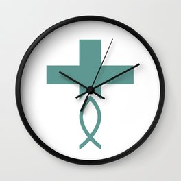 Jesus Fish Cross Symbol of Christianity Wall Clock