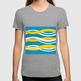 Yellow, White Turquoise Interlocking Waves T-shirt