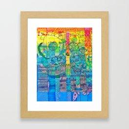 Pottery Motifs - rainbow Framed Art Print