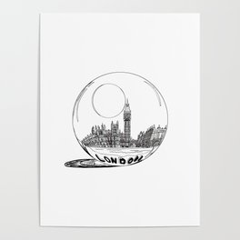London city in a glass ball . Home Decor, Art prints Poster