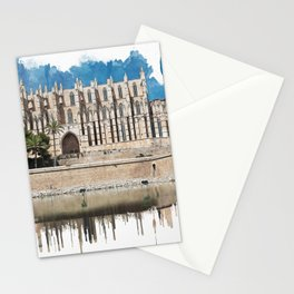Watercolor painting of Cathedral La Seu in Palma de Mallorca Stationery Cards