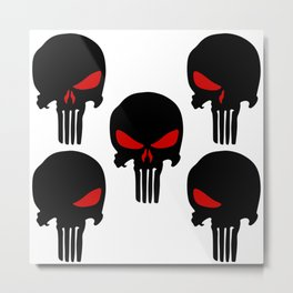 Black red Punisher Skull Pattern Metal Print
