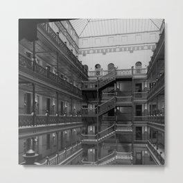 Bradbury Building, Los Angeles Romanesque Revival ornate wrought iron work and skylit atrium  Metal Print
