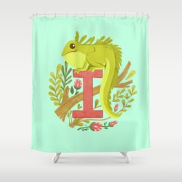 I is for Iguana Shower Curtain