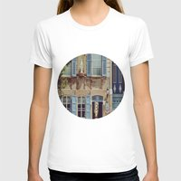 jewish T-shirts featuring Blue Shutters in the Sun by Brown Eyed Lady