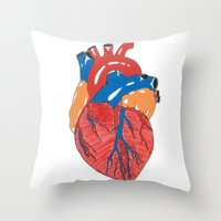 anatomical heart Throw Pillows featuring Anatomical Heart by KA Doodle