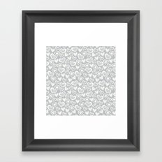 MESSY HEARTS: IVORY GRAY Framed Art Print