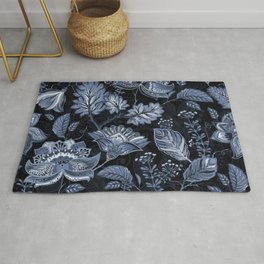 Blooms in the blue night Rug