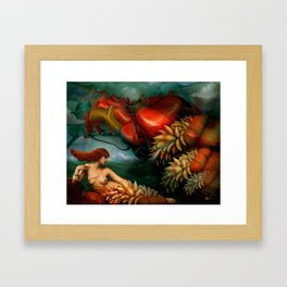 My heart like a sea monster Framed Art Print