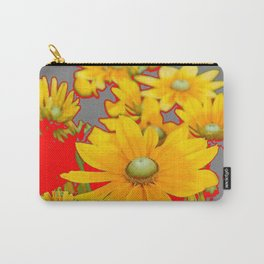 MODERN YELLOW FLOWERS GREY-RED ART Carry-All Pouch