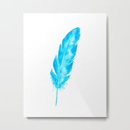 Watercolor abstract turquoise feather Metal Print