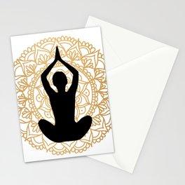 Lotus Yoga Pose Mandala Black White Gold Stationery Cards