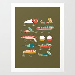 Fishing Lures Green Art Print