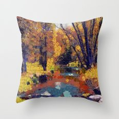 Autumn pond in the park Throw Pillow