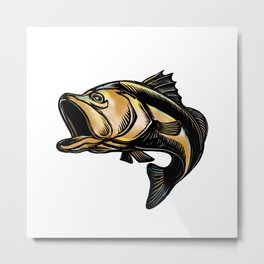 Largemouth Bass Scratchboard Metal Print