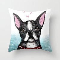 boston terrier Throw Pillows featuring Boston Terrier by Inked in Red
