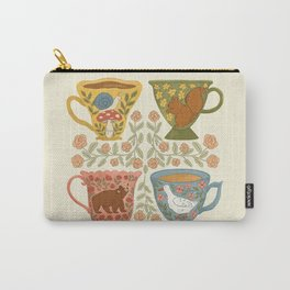 Floral Animal Teacups Carry-All Pouch