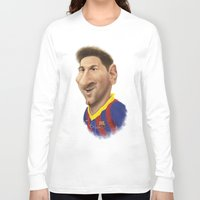 messi Long Sleeve T-shirts featuring Messi - Barcelona by Sant Toscanni
