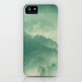 Turquoise Green Monochromatic Mist Misty Pine Forest Field Landscape iPhone Case