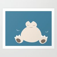 snorlax Art Prints featuring Snorlax by Rebekhaart