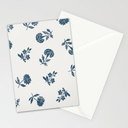 Lino print blue floral Stationery Cards