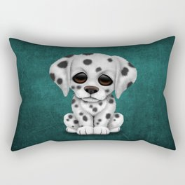 Cute Dalmatian Puppy Dog on Blue Rectangular Pillow