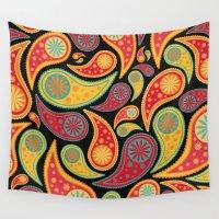 bohemian Wall Tapestries featuring Bohemian Paisley  by Digi Treats 2