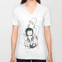 skateboard V-neck T-shirts featuring SKATEBOARD by FISHNONES