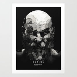 Kratos lowpoly portrait Art Print