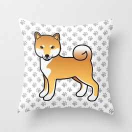 Red Shiba Inu Cute Cartoon Dog Throw Pillow