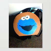 cookie monster Canvas Prints featuring cookie monster by smilingbug
