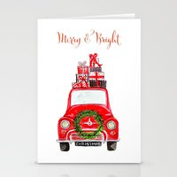 craftberrybush Stationery Cards featuring Red Christmas Car - white  by craftberrybush