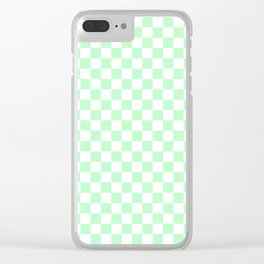 Small Checkered - White and Mint Green Clear iPhone Case