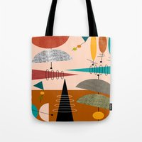 mid century modern Tote Bags featuring Mid-Century  Modern Space Age by Kippygirl