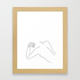 Nude figure line drawing - Bess Framed Art Print