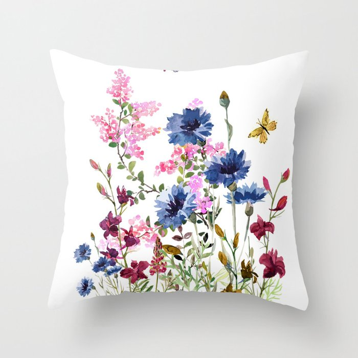 Wildflowers IV Throw Pillow