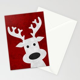 Christmas reindeer red marble Stationery Cards
