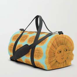 Sun Drawing Gold and Blue Duffle Bag